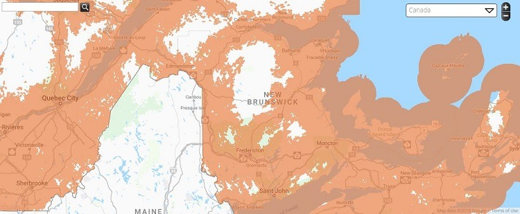 Public Mobile Coverage in New Brunswick
