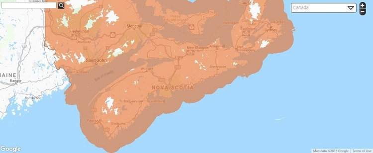 Public Mobile Coverage in Nova Scotia