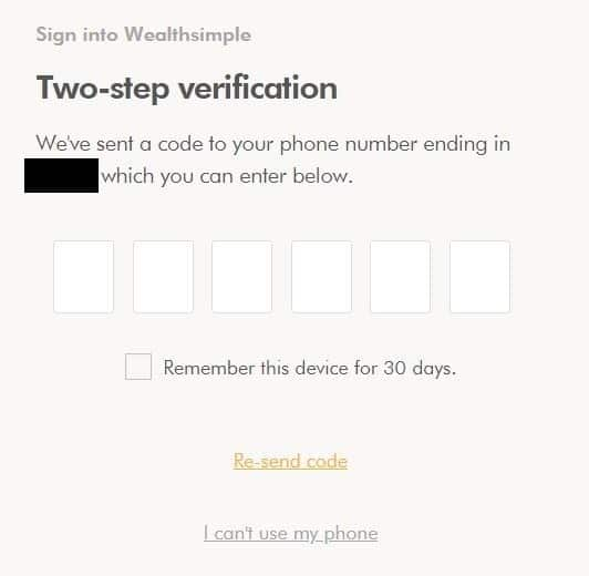 Wealthsimple Two Step Verification