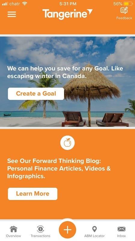Tangerine Banking App Create A Goal