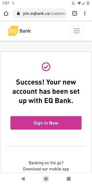 EQ Bank Sign Up Success