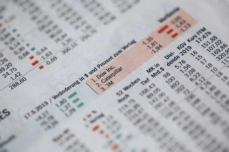 newspaper with stock exchange charts