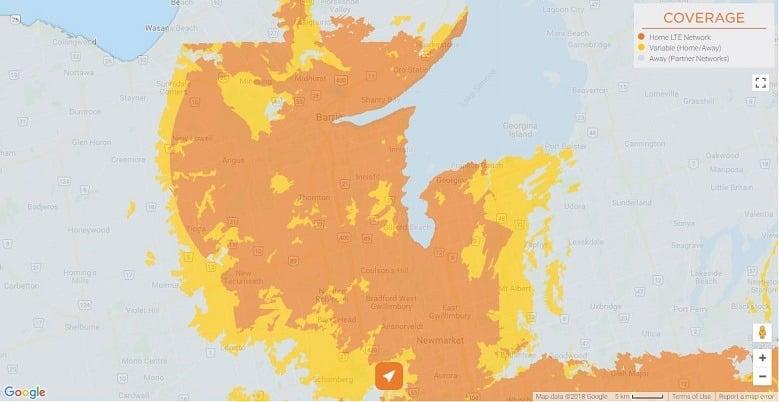 Freedom Mobile Coverage North - Aurora, Newmarket, Gwillimbury, Georgina, Barrie