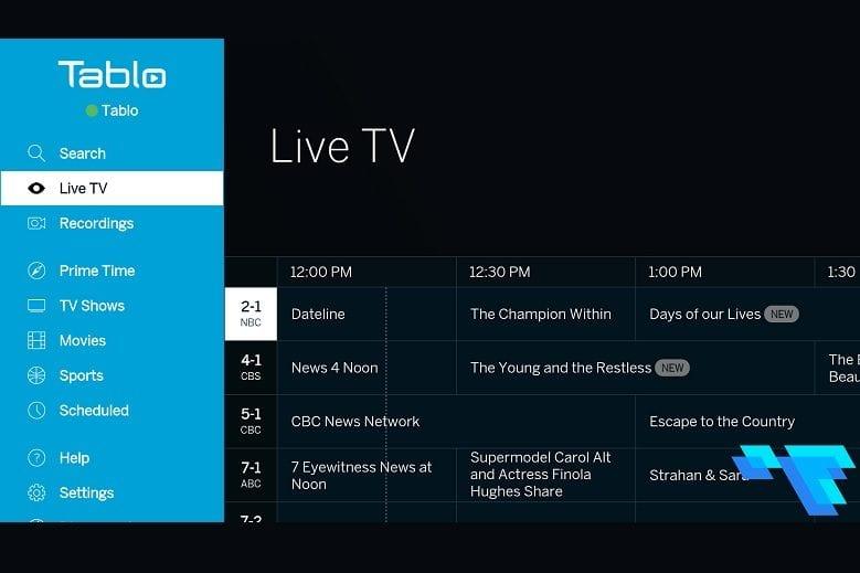 Tablo Dual Lite TV Menu