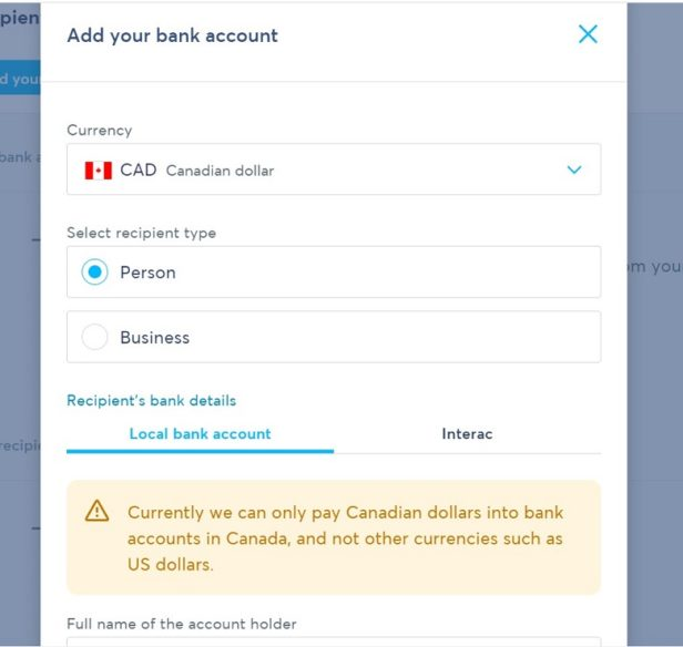 Wise Canada Add Bank Account