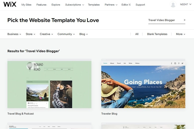 Wix site builder travel blogger templates
